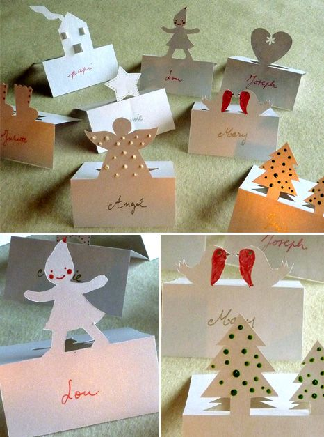 Etiquettes pour noms des invites sur la table no l for Porte nom de table noel