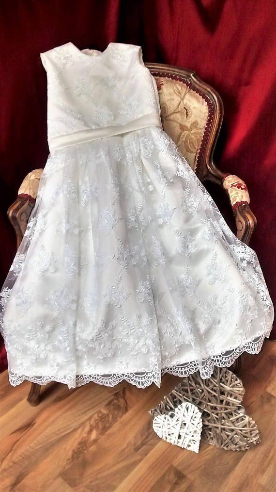 Flowergirl dress/Bridesmaid Dress/Wedding/White Lace Dress/Princess ...