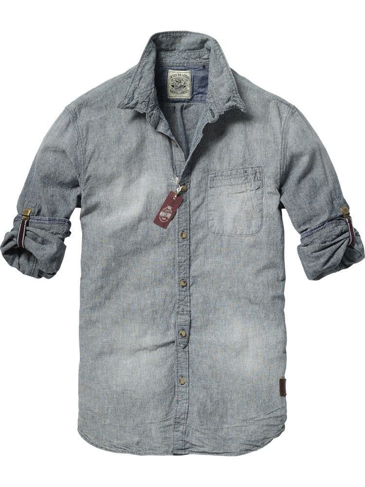 910cea708e5 Japanese styled long-sleeved chambray shirt by Scotch Soda