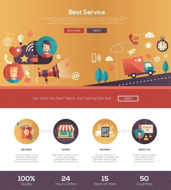 Flat Design Service Website Header Banner Website header, Flat - copy digital product blueprint download