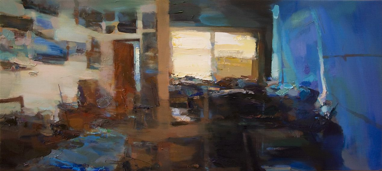 Carlos San Millán S/T. Estudio, Oil on canvas, 40 x 90 cm.