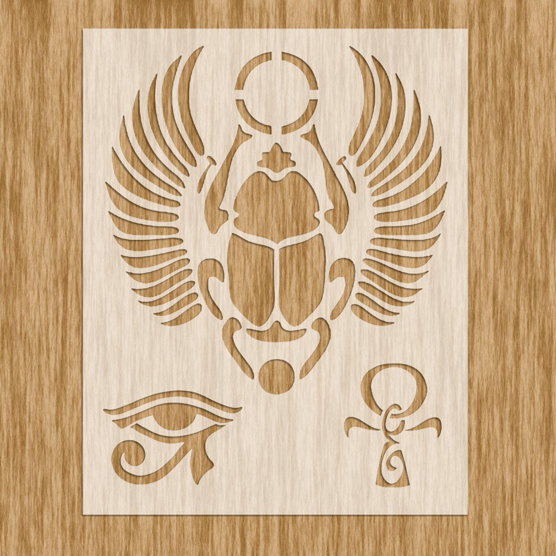 Stencil Powertex Mixed media Art crafts Ancient Egypt Tutankhamen heiroglyph