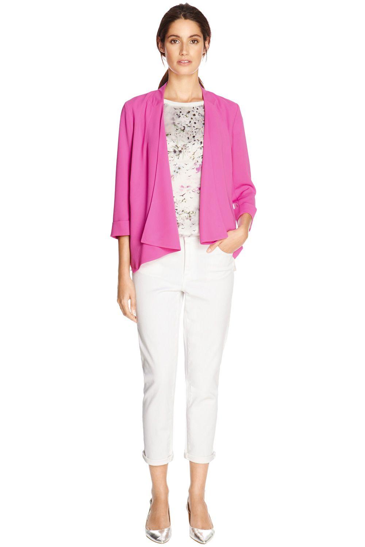 574a1f3ea Jackets & Coats | Pink WATERFALL DRAPED JACKET | Warehouse | Blazers ...