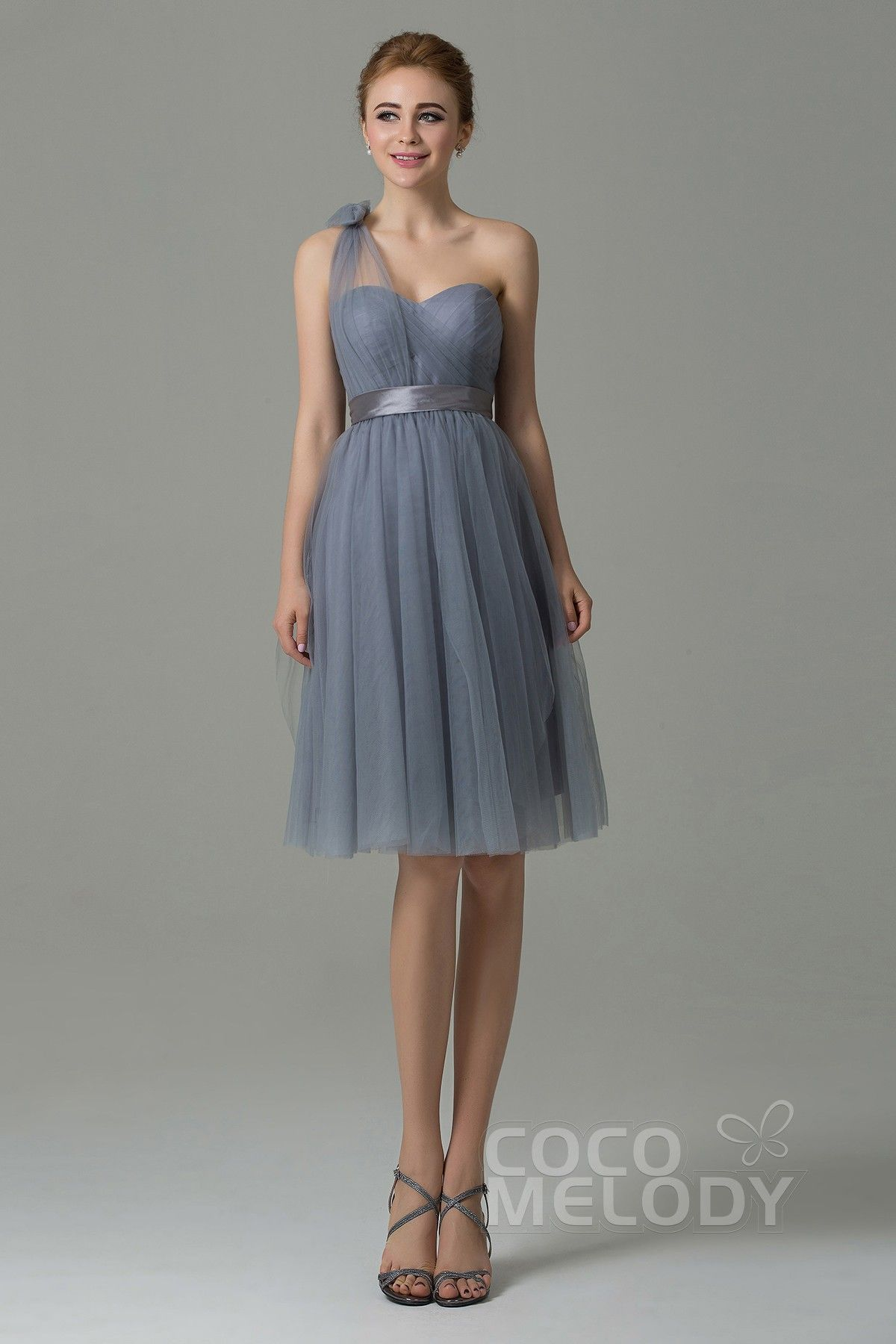 42ddb94ad78e Chic Sweetheart Natural Knee Length Tulle Gray Sleeveless Zipper Convertible  Bridesmaid Dress with Ribbons COZM15016