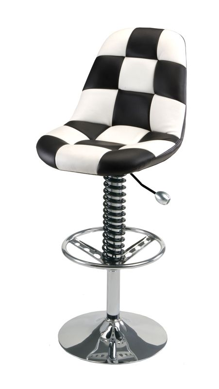 Bar stoolA checkered shop stool with a steering wheel foot rest   Car Guy  . Garage Chairs Stools. Home Design Ideas