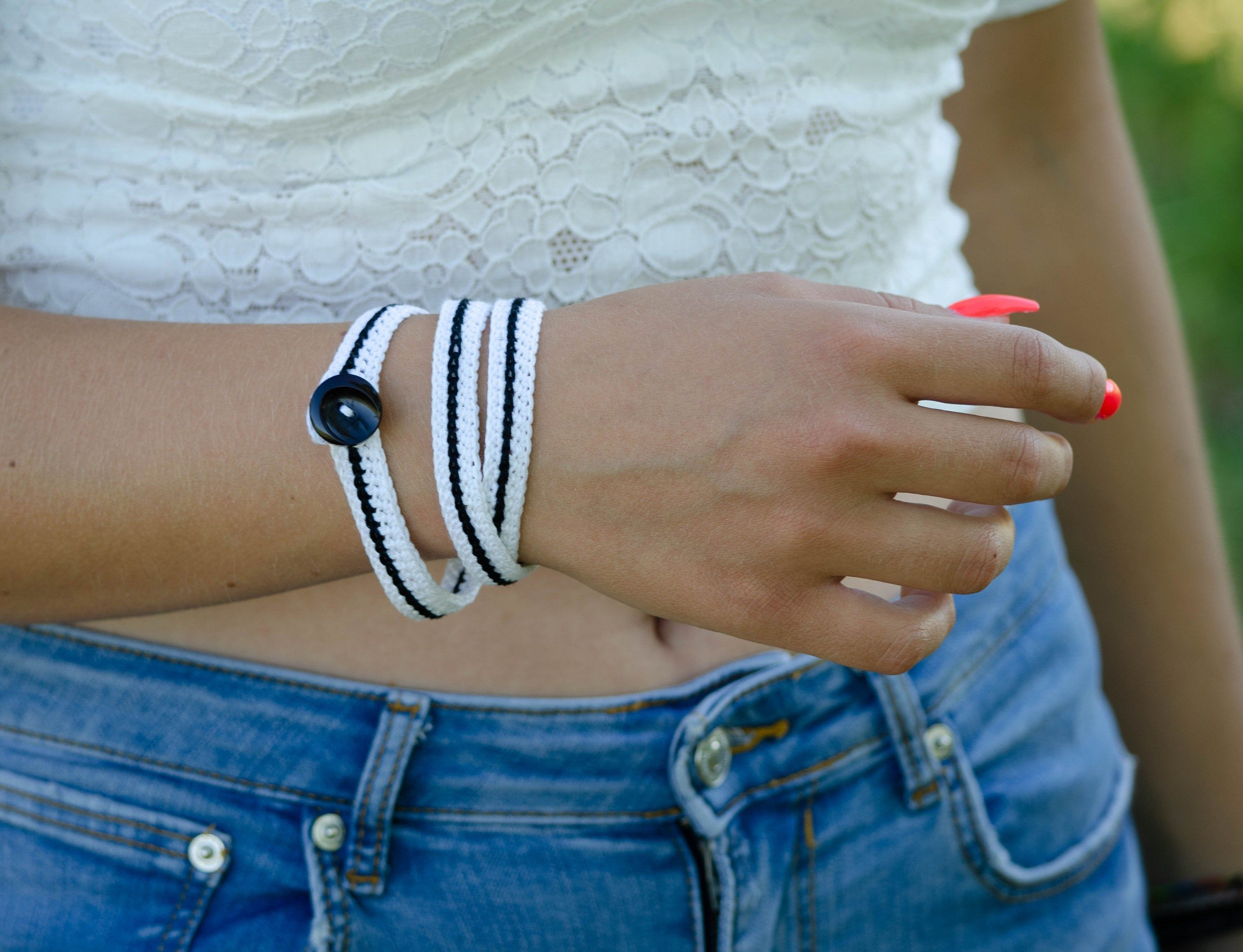 Black and White Bangle wrap bangle Cotton crocheted bracelet Casual everyday jewelry Gift for young lady #oldtshirtsandsuch