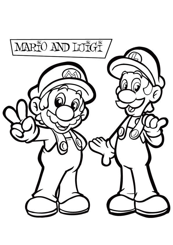 Kleurplaten Mario En Sonic.Kleurplaat Mario En Luigi Kleurplaten Voor Kinderen Super