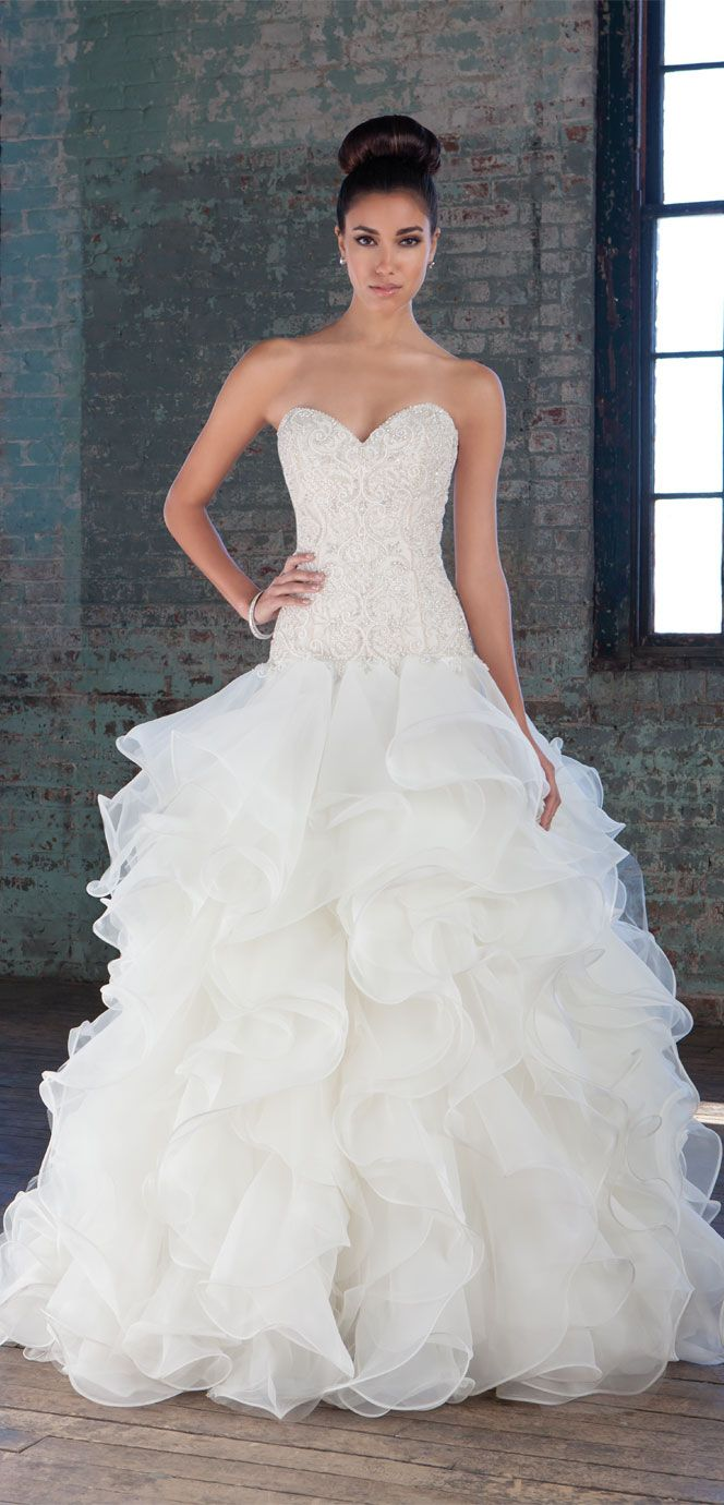Ruffle dress wedding  Justin Alexander Signature Style   The intricately hand beaded