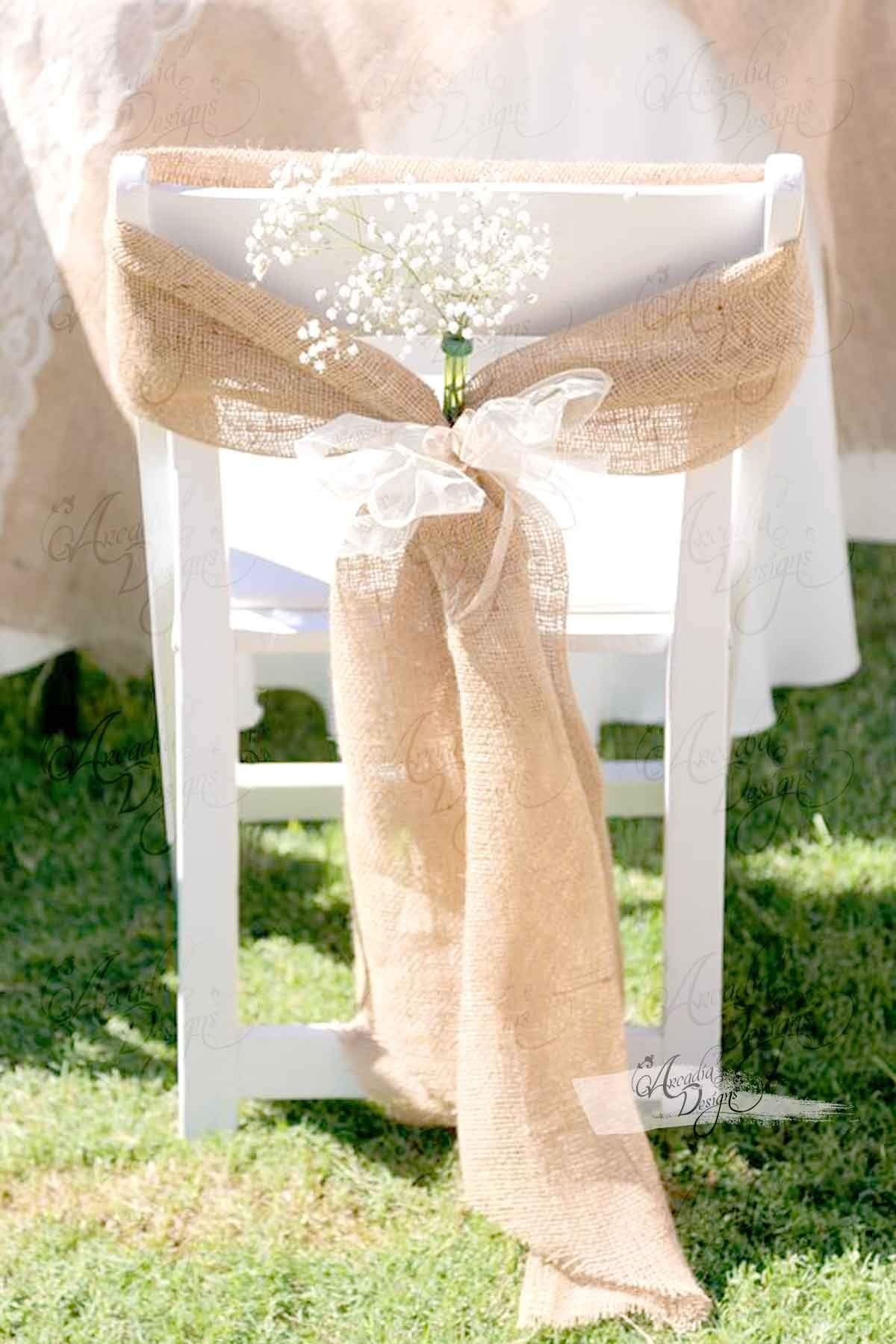 Burlap Chair Covers For Folding Chairs Wheels Office Rustic Decor Natural Tan Wide Sash In 2019 These Handmade Is The Perfect Touch To Wedding Or Fall Events Set Of 2 Sashes With Ribbons