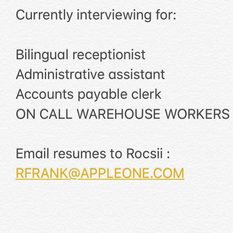Please Send Me Your Resume Rfrank Appleone Com Please Share And Tag Job Jobsearch Recruitment Career Hiring Work Ca Job Opening Job Hunting Job Fair