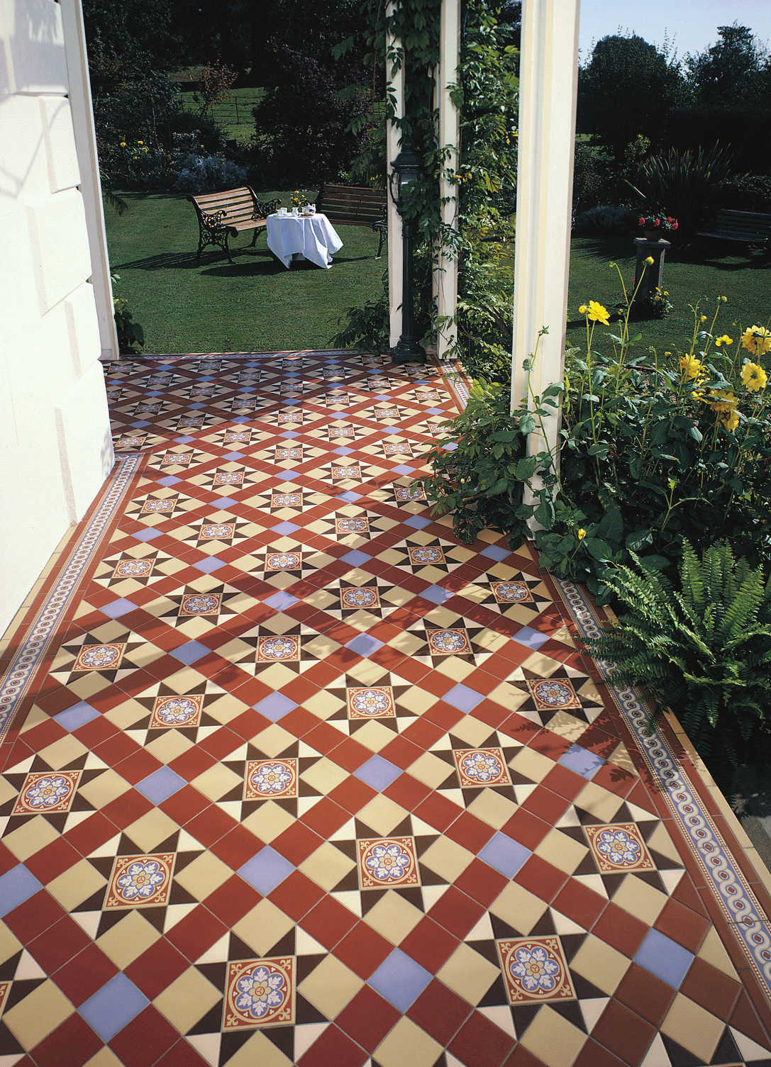Victorian Floor Tiles Blenheim Pattern In Blue Red Buff Brown And White Incorporating Livingstone Decorated Tiles Porch Tile Victorian Tiles Garden Tiles