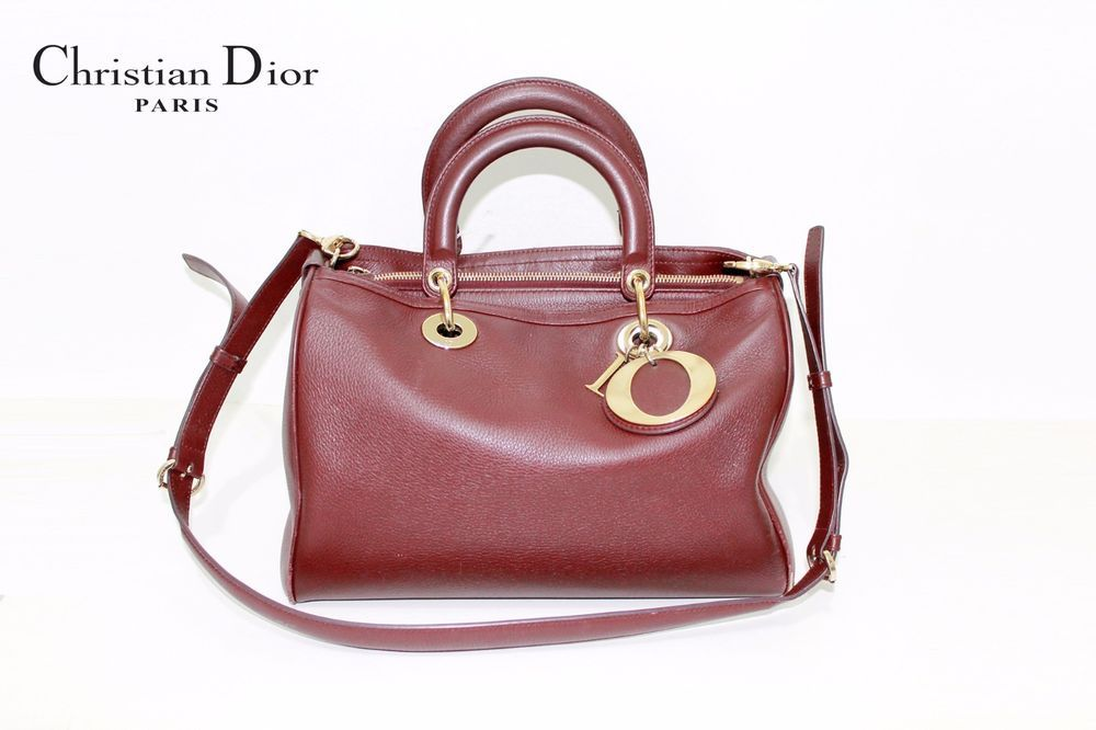 Dior Bordeaux Smooth Deerskin Leather Granville Polochon Satchel   ChristianDior  TotesShoppers 11ac72268ac21