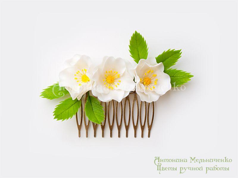 Гребень «Цветы шиповника» « « Craft Flowers — цветы из полимерной глины