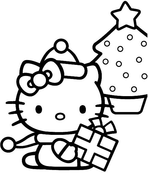 Hello Kitty Merry Christmas Coloring Page | Hello kitty ...