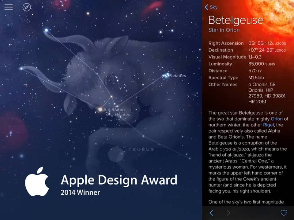 Sky Guide stargazing app updated with new iOS 8 features