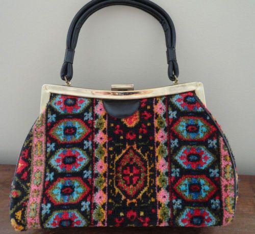 Vintage Carpet Bag Tapestry Floral Ladies Handbag | Carpet ...