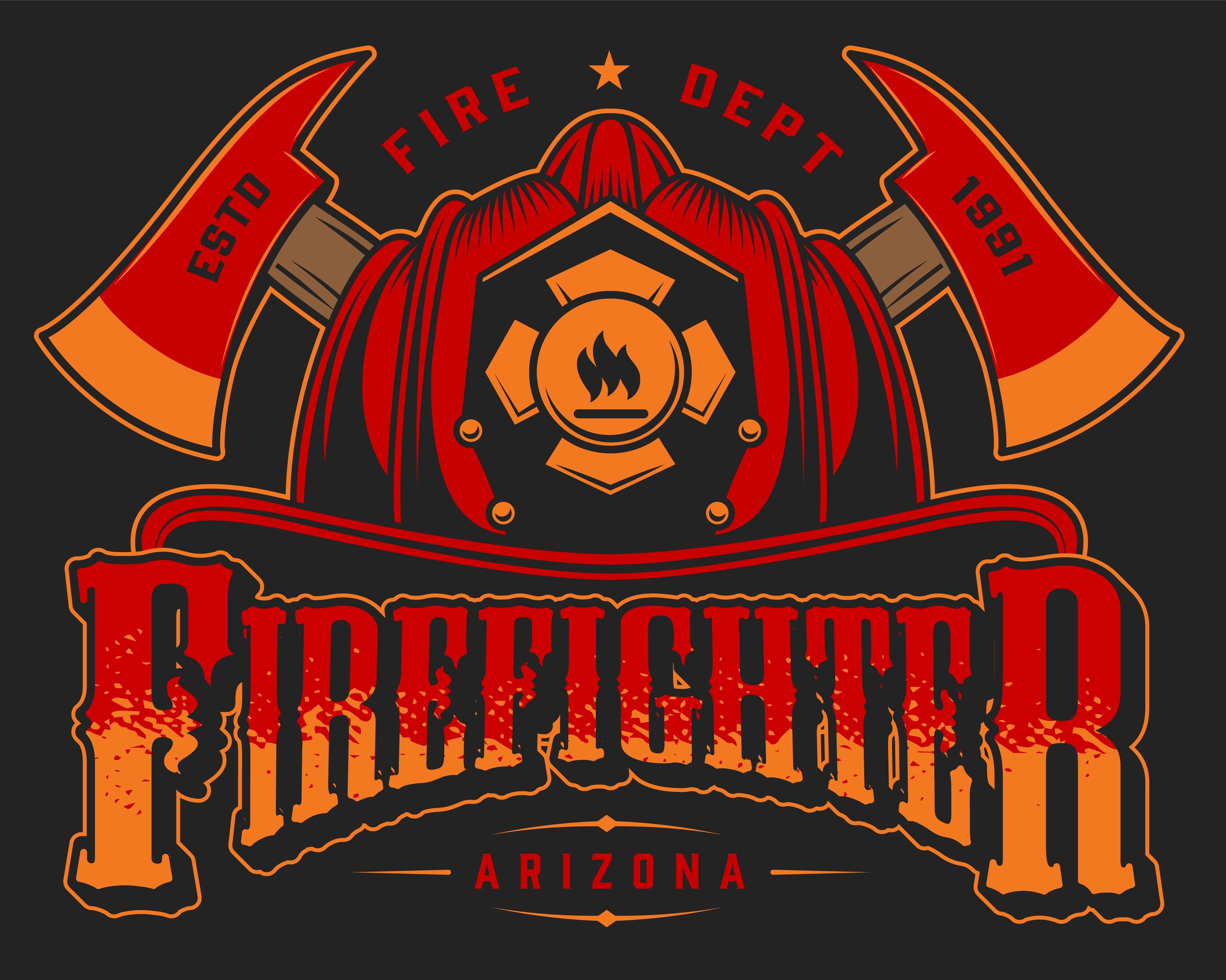 Vintage Firefighter Designs Set Firefighter, Badge