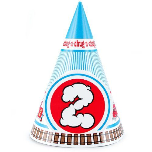 Two-Two Train 2nd Birthday Cone Hats (8 count) Party Accessory