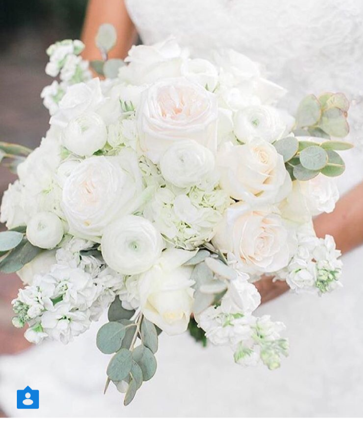 Brides Bouquet Ranunculus Garden Roses Hydrangeas And Eucalyptus