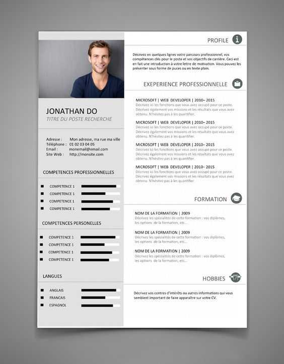 Modèle CV 2 design et original | Maxi CV | fdf | Pinterest | Cv ...