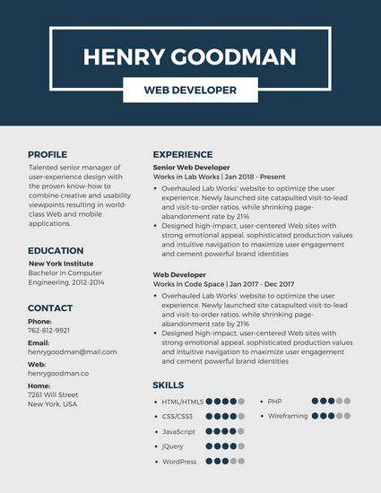 Dark Blue Professional Resume  Cv    Free Resume