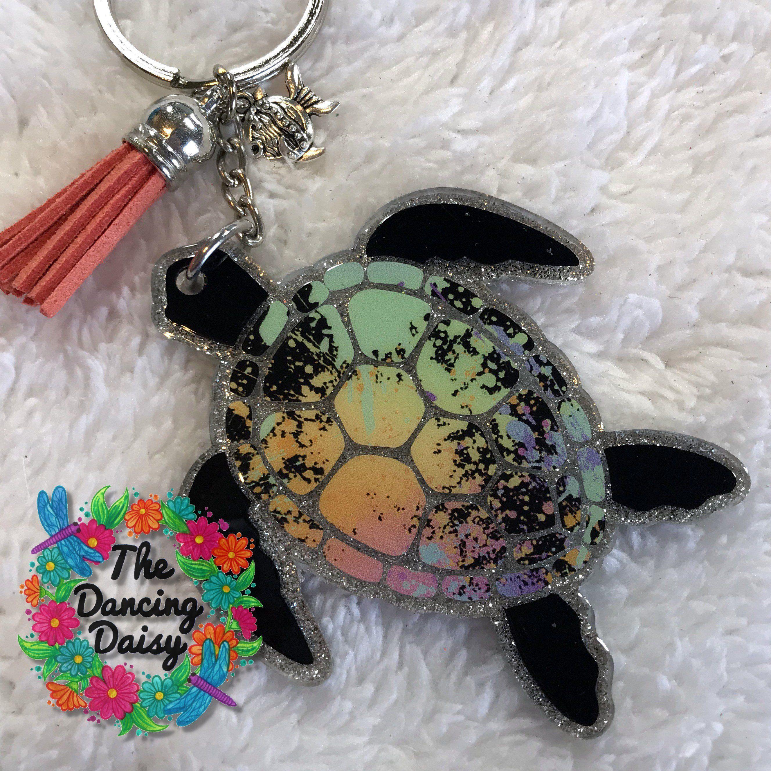 Sea Turtle Keychain Coastal Keychain Sea Glass Keychain Beach Keychain Green Glass Acrylic Keychain| Sea Turtle Gifts