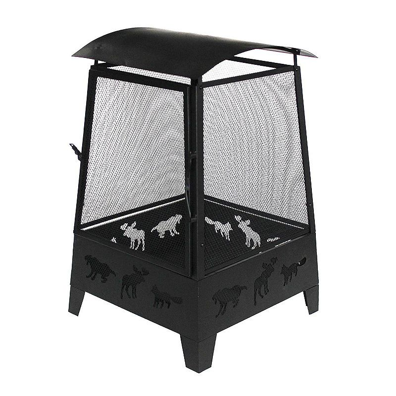 Aleko steel fire pit outdoor fireplace with spark screen