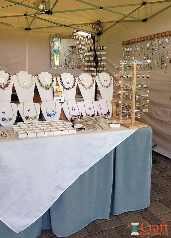 Craft booth design using portable tables jewellery for Craft show jewelry display