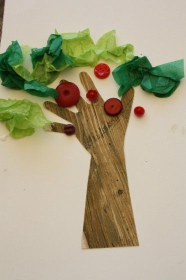 Apple Tree Craft with Buttons and Tissue Paper | Fall ...