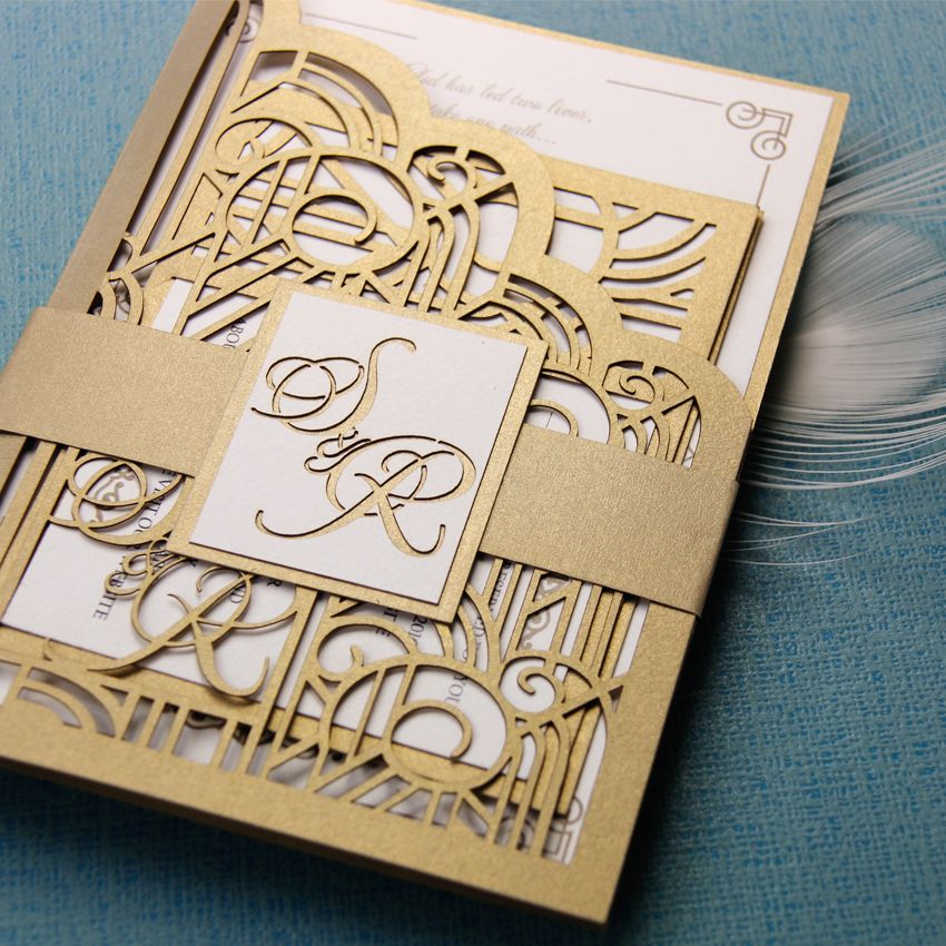 Bespoke Laser Cut Wedding Invitation Set From Cartalia   Perfect For Your  Art Deco / Gold