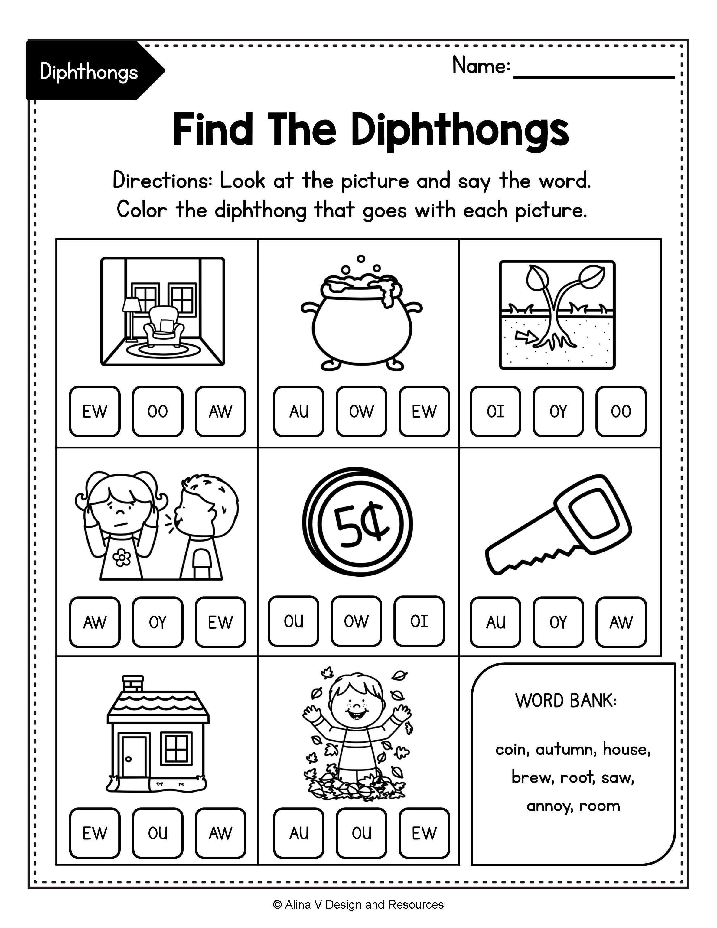Diphthong Activities Bundle Diphthong Activities Vowel