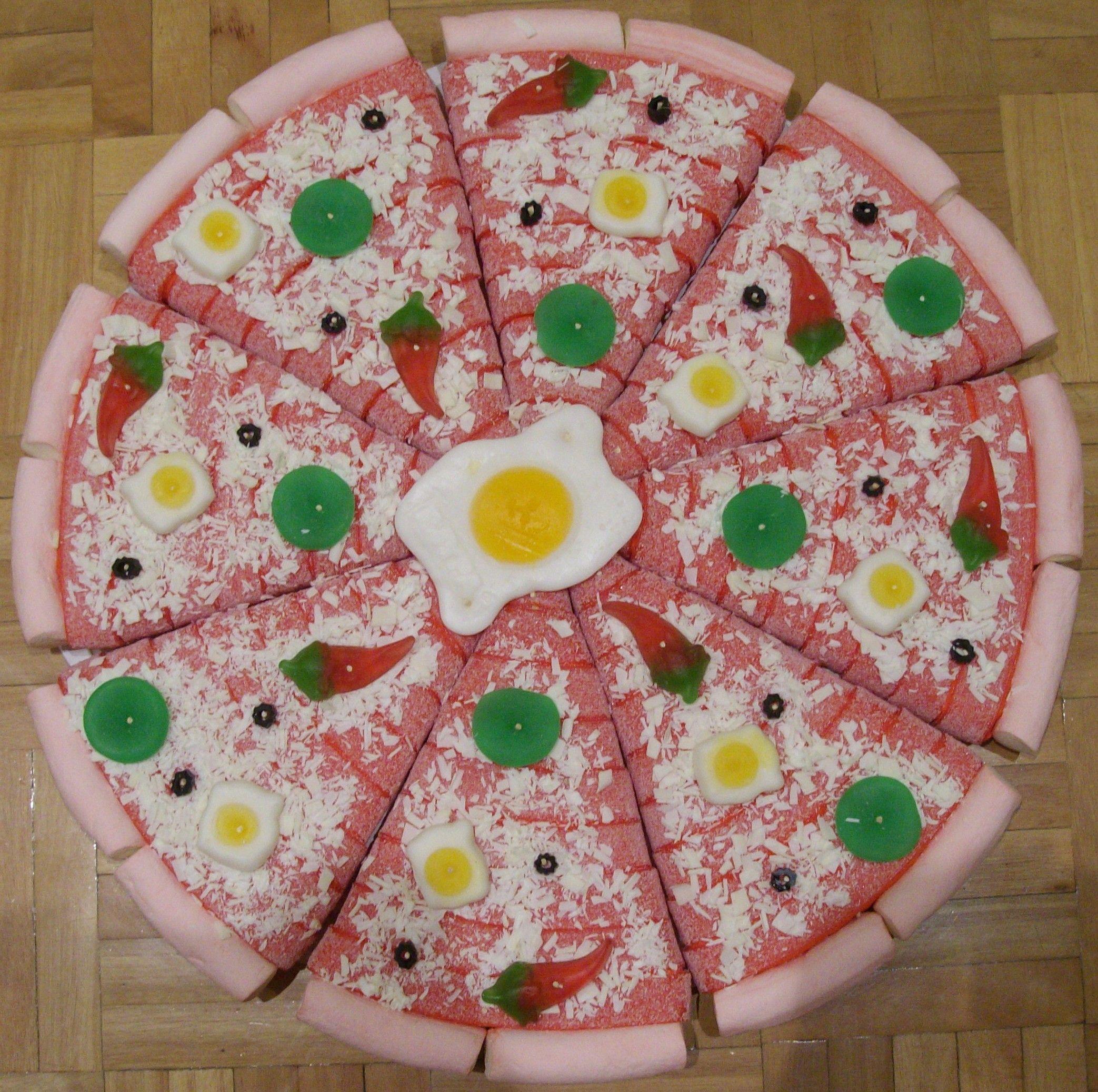 pizza de gominolas - Buscar con Google | Tartas de chuches