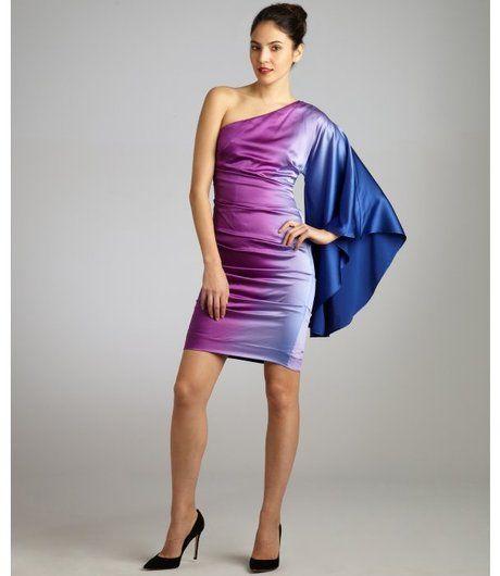 751ec31bfae Magenta and Blue Silk Ombre One Shoulder Drape Dress - Lyst