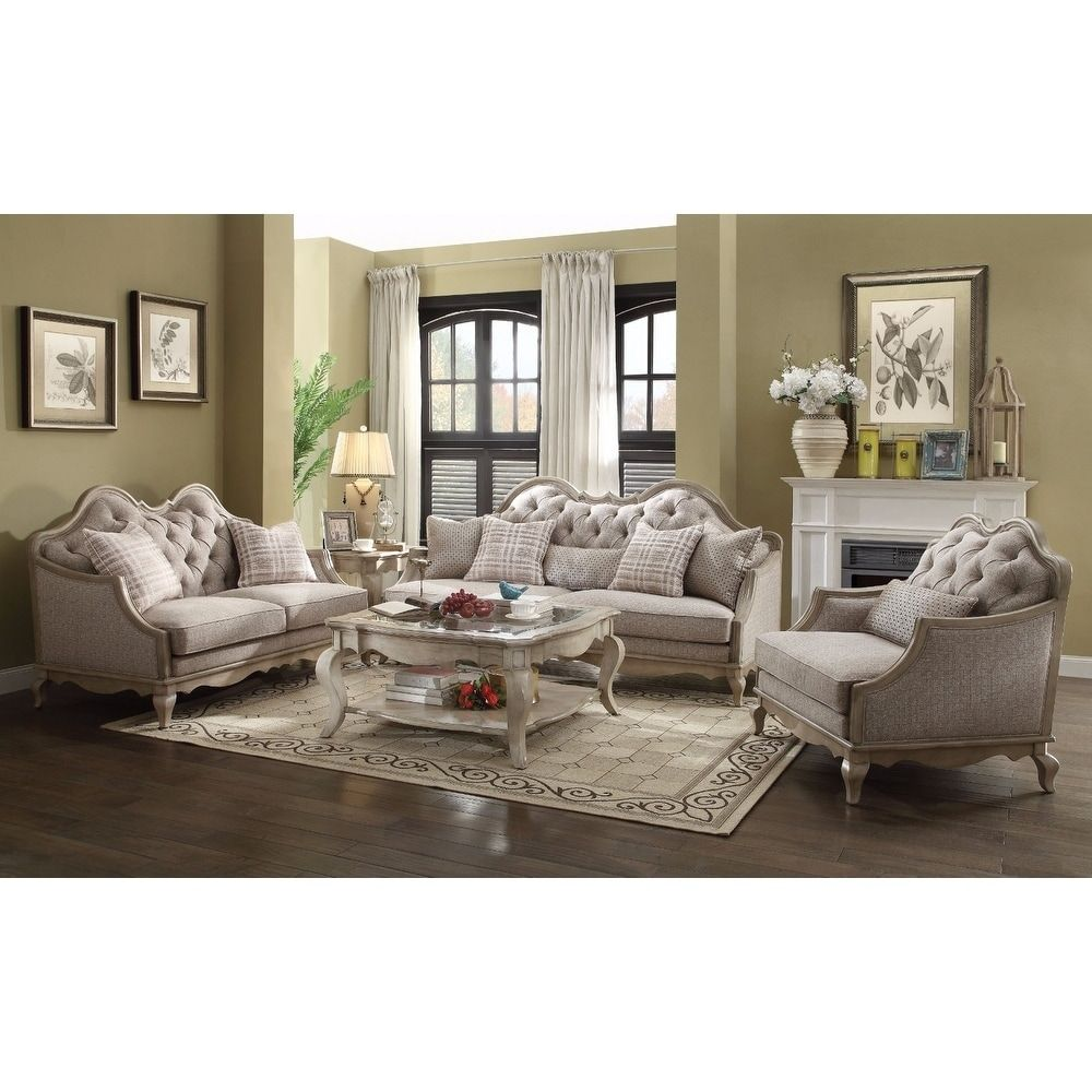 Benzara Majestic Sofa With 5 Pillows Beige Products 3