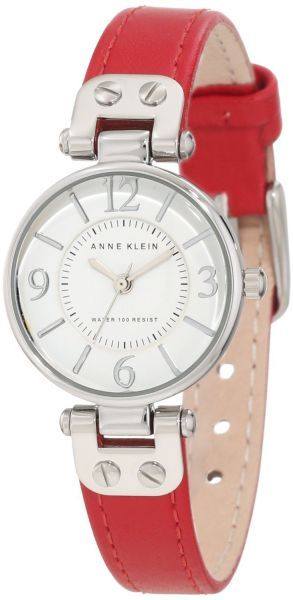 Anne Klein Women's 109443WTRD Silver-Tone White Dial and Red