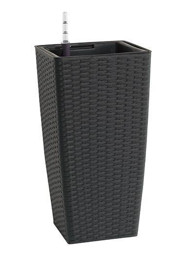 Polyrattan Pflanzgefäß, 26,5x26,5x50cm, wetterfest, mit Kunststoffeinsatz inkl. Bewässerungssystem