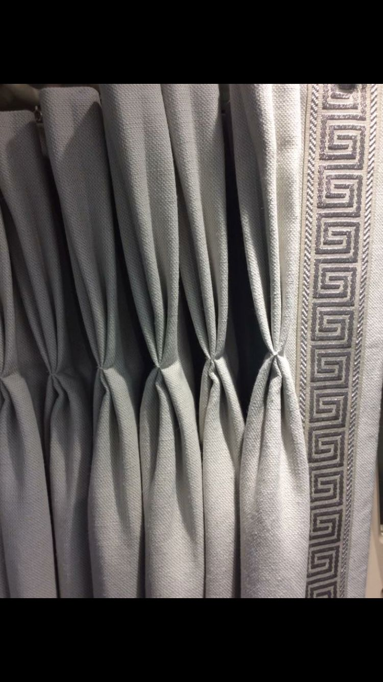 Our New Greek Style Braid Seen Here On Our Almond Natural Fabric Curtains With Blinds Curtains Upholstery Fabric