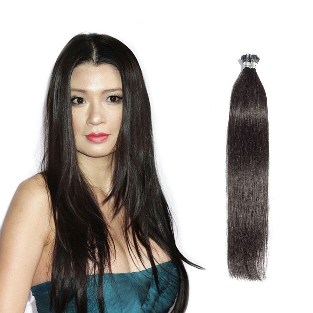 6 30 Inch 1b Natural Black Stick I Tip Straight Real Human Hair