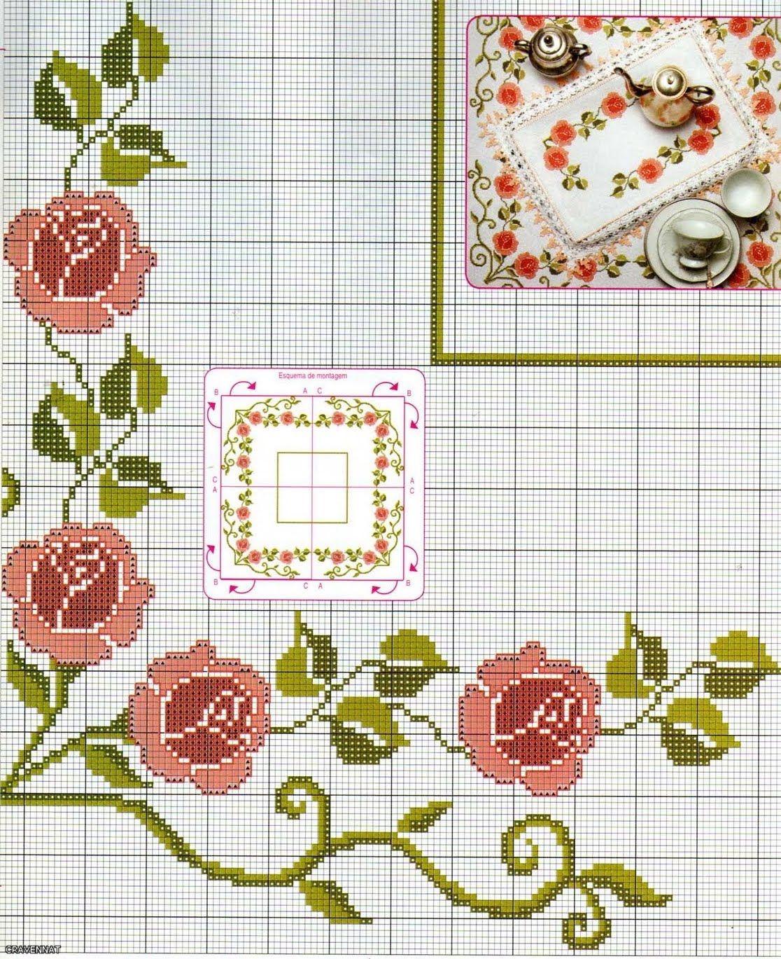 Bonitos manteles en punto de cruz cross stitch rose - Manteles de punto de cruz ...