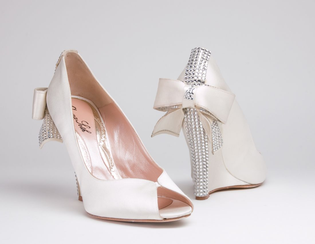 d72e805a4282 Cerise Ivory Satin Wedge with Swarovski Elements 110mm