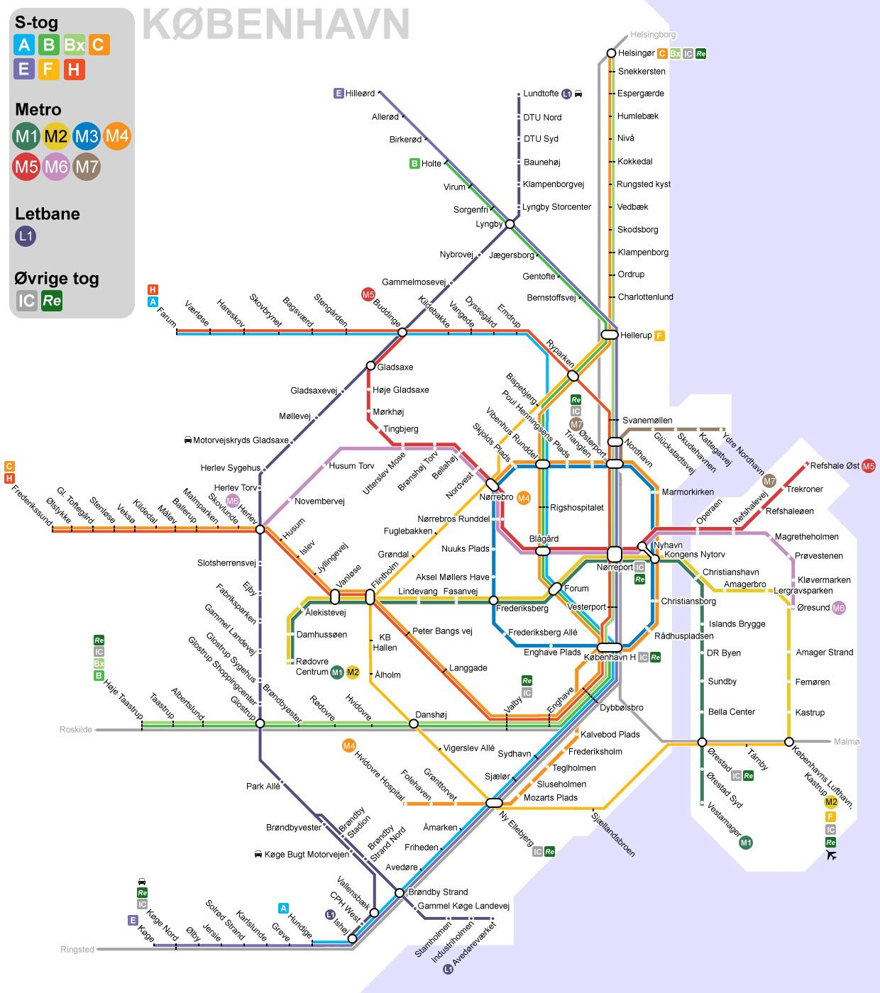 Copenhagen public transport map