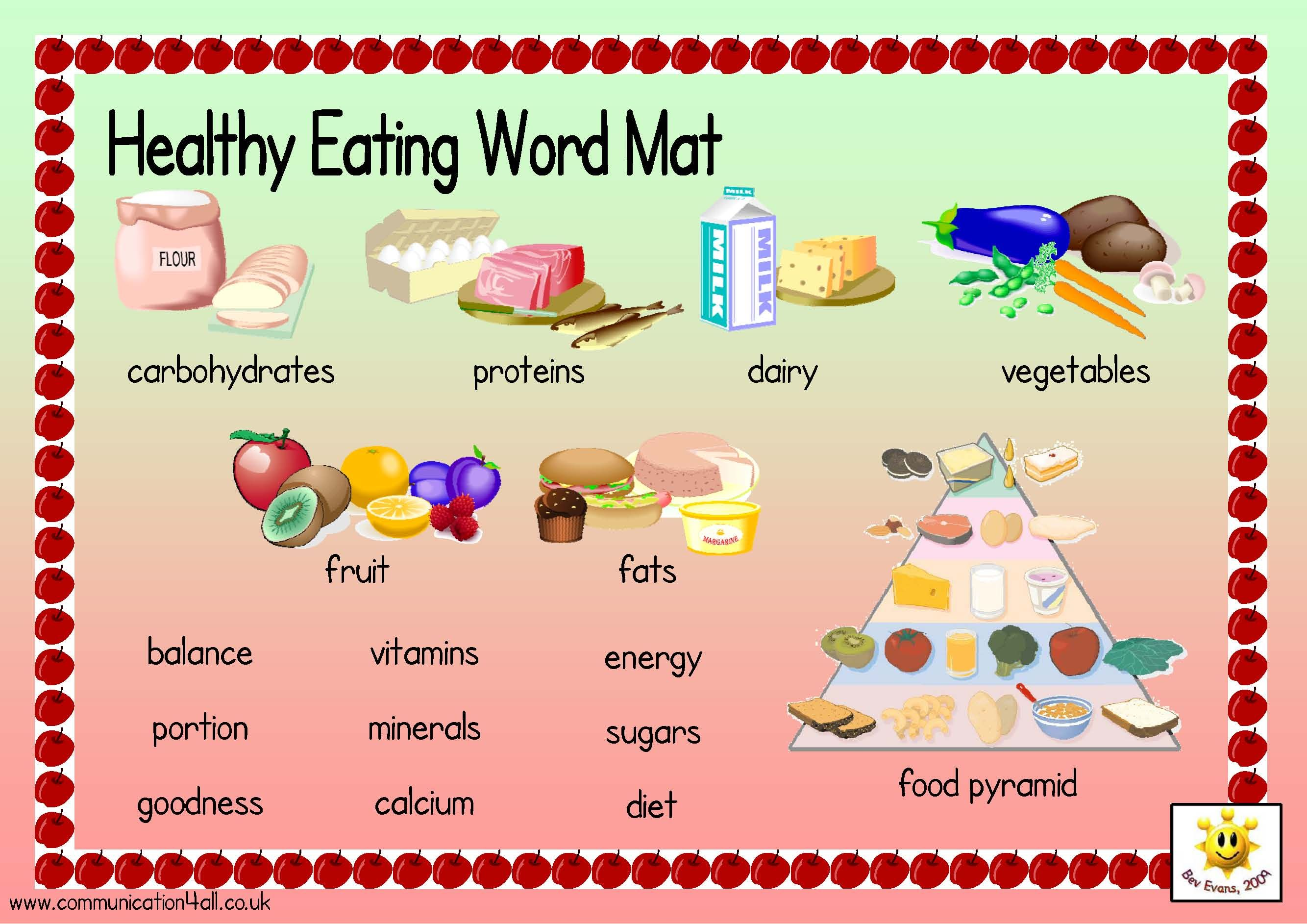 Vocabulary Word Mats To Support An Healthy Eating Topic