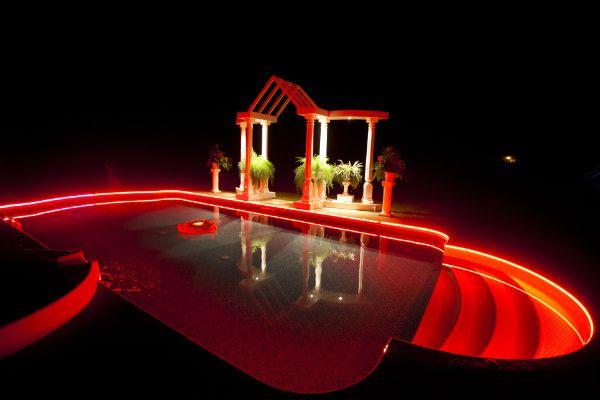 Red Led Pool Lighting With Fiber Optics Running Around