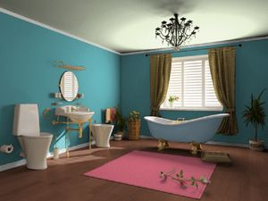 Turquoise And Pink Bathroom So Cute With The Brown