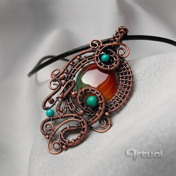 Wire wrapped pendant with Brazilian agate bead - pinned by pin4etsy.com