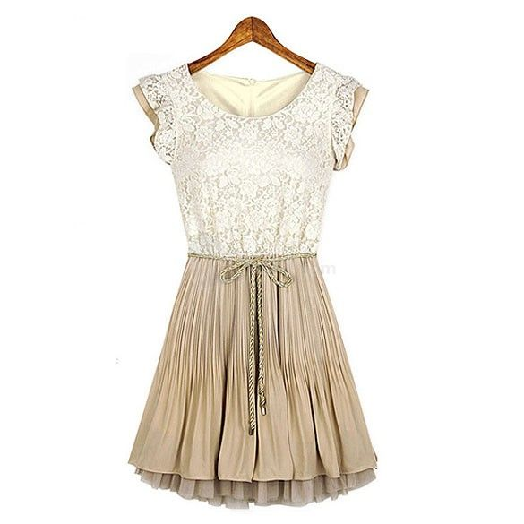New Summer Women Elegant Sleeveless Patchwork Lace Chiffon Dress S Size, unit price of $15.58 only - Yesfor.com