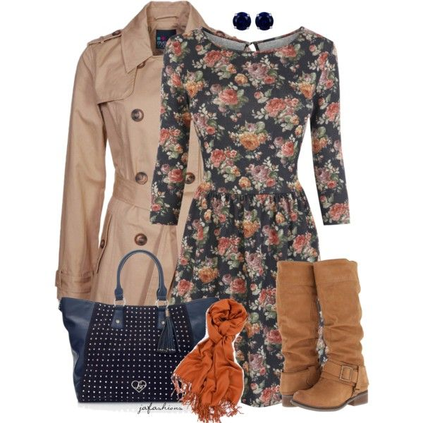 Floral Dress for Fall, created by jafashions on Polyvore
