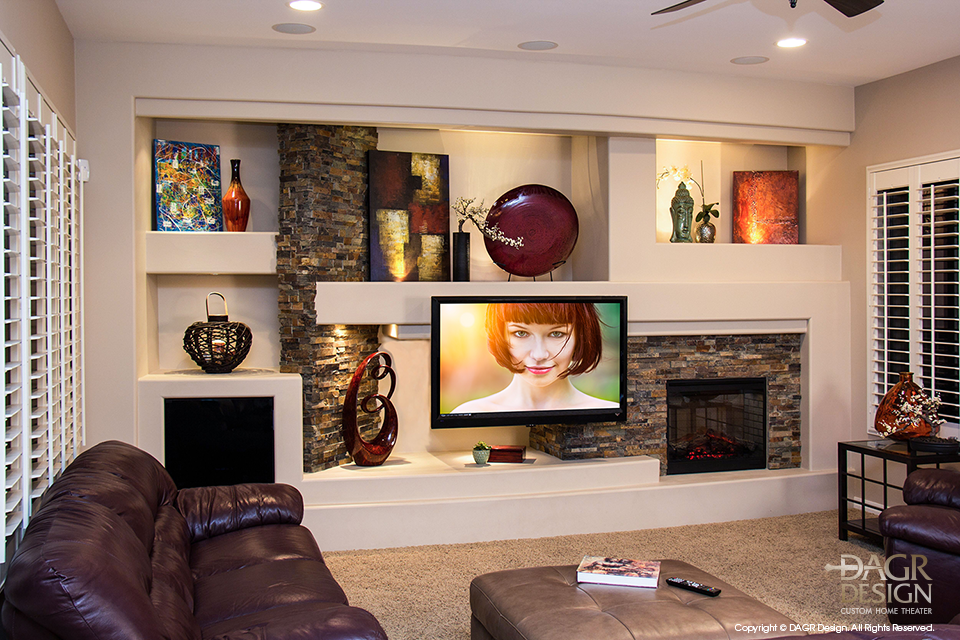 photo of finished custom drywall home entertainment media center created by dagr design for pro football player paris lenon my interests pinterest