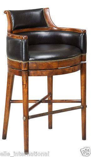 Old Surrey Pub Bar Stool In Solid Walnut Black Leather