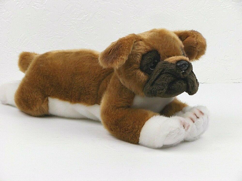 Bearington Boxer Puppy Dog Plush Brown